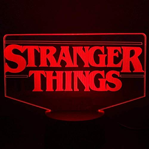 3D Illusion Night Light The Tv Show Stranger Things Present for Adult para decoración de interiores Lámpara 3D con batería Lámpara de luz nocturna Led