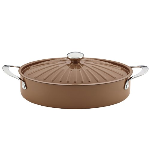 Rachael Ray Cucina Nonstick Sauce Pan/Saucepan/Oval Sauteuse with Lid, 5 Quart, Mushroom Brown