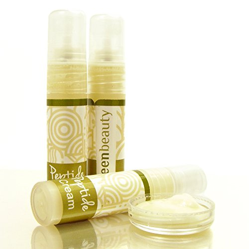Peptide Serum Sample. Anti-aging peptide cream, hydrates, nourishes and tightens, perfect as an under-eye serum, Argireline moisturizer from Green Beauty, eco friendly & cruelty free.