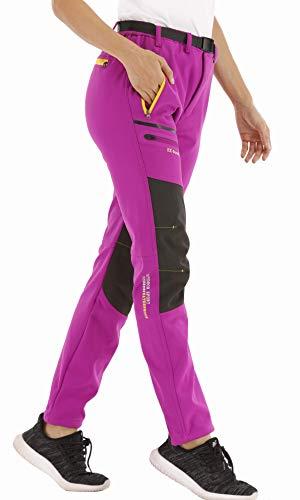 CARETOO Damen Wanderhose Outdoorhose Wasserdicht Softshellhose Winddicht Warm Gefüttert Winterhose Trekkinghose