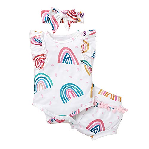 Julhold Neugeborenes Baby Mädchen Rüschen Ärmellos Regenbogen Druck Jumpsuit Fransen Shorts Sommer Anzug + Bandana Anzug Gr. 86, weiß