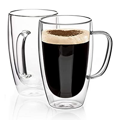 Double Walled Glass Coffee Mugs Glass Mug With Handles Double Wall Cappuccino Cups, 16oz Of Set 2 Coffee/tea Mugs, Clear Glasses Large With Handle