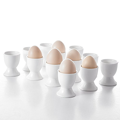 MALACASA, Serie Regular, 24 TLG. 5 * 5 * 6,3cm CremeWeiß Eierbecher Porzellan EierStänder