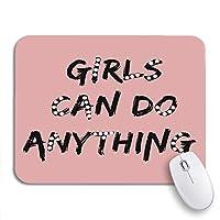 ROSECNY 可愛いマウスパッド 愛の女の子は何でもできるブラシスローガンパールアパレル滑り止めゴムバッキングノートブック用マウスパッドマウスマット