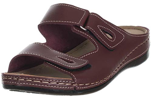 Brandsseller Damen Sandalen Pantoletten Sandaletten Lederoptik mit Klettverschluss - Weinrot 38