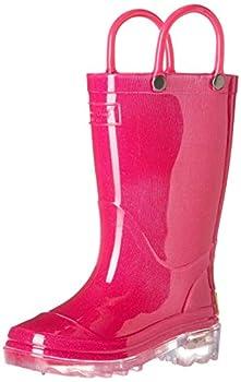 Western Chief Unisex-Kid s Waterproof PVC Light-Up Rain Boot Solid Pink 9/10 Medium US Toddler