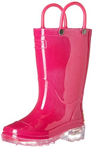 Western Chief Unisex-Kid's Waterproof PVC Light-Up Rain Boot, Solid Pink, 9/10 Medium US Toddler