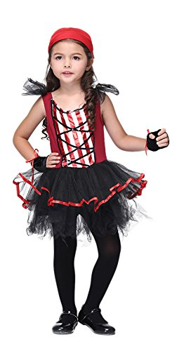 La Vogue Fille Viking Pirate Gant Fichu Costume Robe Noir Tutu Déguisement Cosplay Halloween Size2