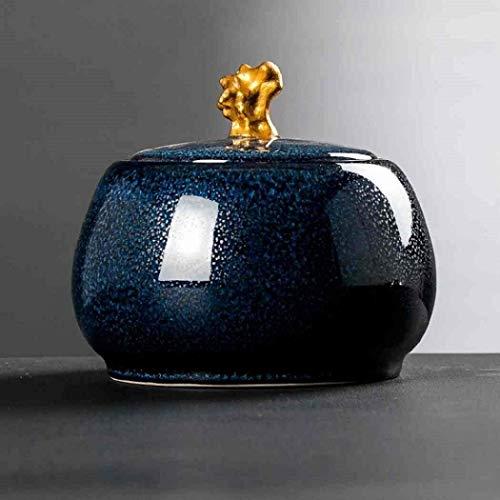 Chihen Frascos Hermeticos Tarro de cerámica China de Almacenamiento de Almacenamiento de té Estilo Jar Jar café de la Cocina del hogar y decoración del hogar (Brown) 1229 (Color : Blue)