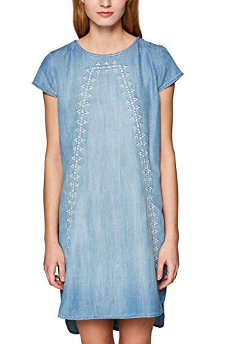 edc by ESPRIT Damen 039CC1E014 Kleid, Blau (Blue Medium Wash 902), X-Small (Herstellergröße: XS)