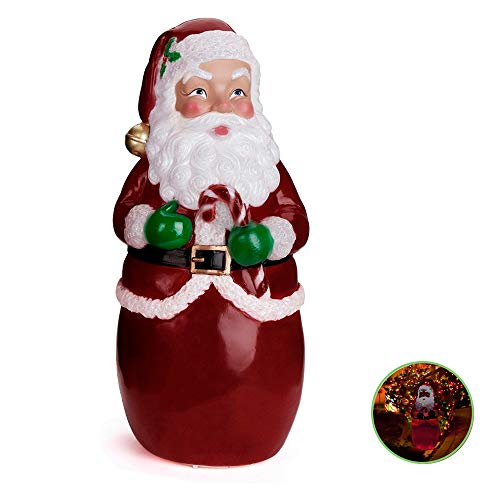 TOUNTLETS Santa Claus Decoration Figurines Outside,LED Light Effect Plastic Santa Clause Yard Decoration Lighted for Garden Outdoor Yard Lawn Decor with Free Three AAA Batterys