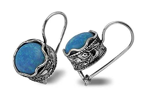 SHABLOOL Pendientes de plata de ley 925 con piedras preciosas de ópalo azul plata de ley estilo de gota de ópalo azul para mujer joyería hecha a mano regalo esencial para el día de la madre y la mujer