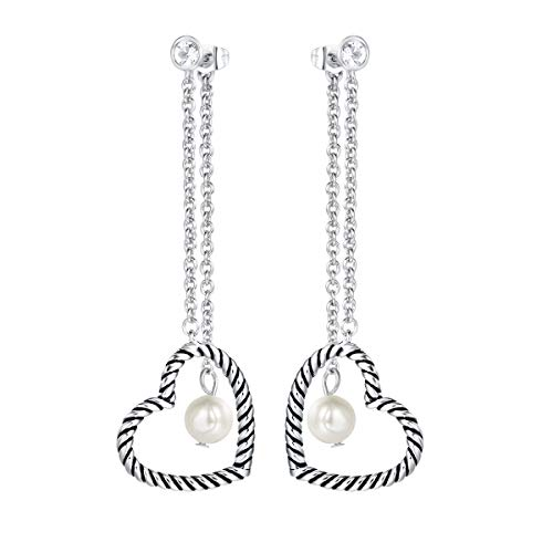 UNY Dangle Drop Earring Designer Brand Inspired Jewelry Heart Pearl Twisted Cable Wire Christmas Gift (Silver Tone)
