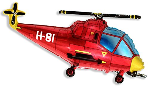 37 Inch Red Helicopter Shaped Foil Balloon (CS19) by Flexmetal