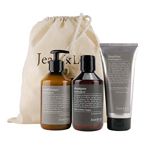 Jean & Len Jean & Len Haarpflege Set Feuchtigkeit Rosemary & Ginger, bestehend aus Shampoo, Conditioner, Haarkur, für trockenes und sprödes Haar