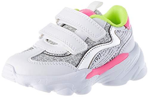 Chicco Scarpa Charleston, Zapatillas de Gimnasia para Niñas, Blanco/Rosa/Amarillo, 24 EU