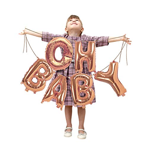 Metallic Oh Baby Rose Gold Balloons Foil Letter 16 Inch Balloon Banner Kit Garland for Girl or Boy Baptism Christening Baby Shower Gender Reveal Sweet Sixteen Birthday Party Supplies