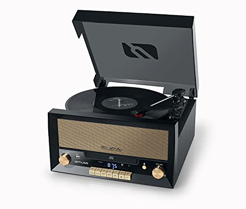 Muse MT de 110B Retro Tocadiscos con USB, Aux-In, CD, Bluetooth Negro
