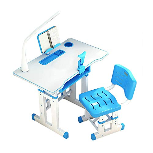 Amimilili Adjustable Kids Study Homework Desk,Chair Kids Desk and Chair Set with Lamp Drawer for Kids,Blue
