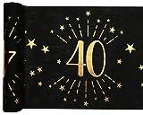 Santex 6787-40-30, Runner da tavolo, età scintillante in metallo, colore: nero/oro, 40 anni