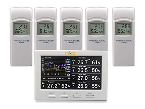 MISOL Wireless weather station with 5 sensors, 5 channels, color screen,...