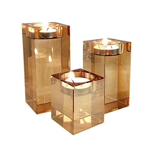 Myoou Glass Candle Holders Crystal Pillar Candle Holders Set of 3 Square Tealight Holders Pillar Candle Stand Party Wedding Home Decoration(Champagne 3Pack, 3 Sizes)(No Candle)