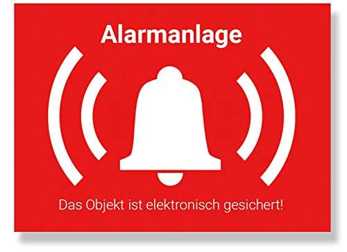 SOTRO Alarmanlage Aufkleber Alarmgesichert Sticker Innen & Außen mit UV-Schutzlaminat, Warnaufkleber Alarm Aussenklebend, Hinweis Alarmanlage, 5 Stück