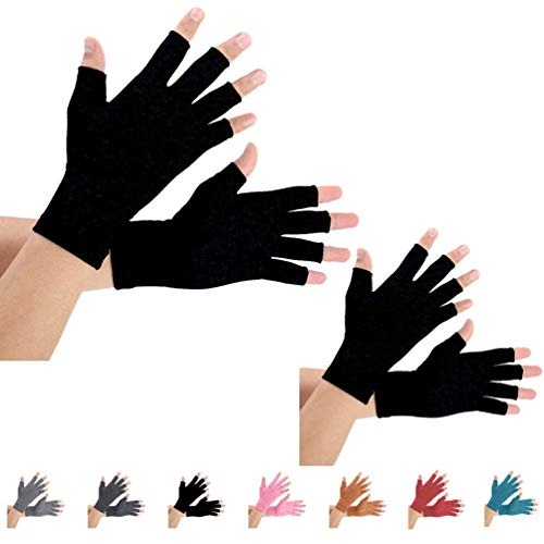 2 Pairs Arthritis Gloves, Compression Gloves for men and women (L, Pure Black)