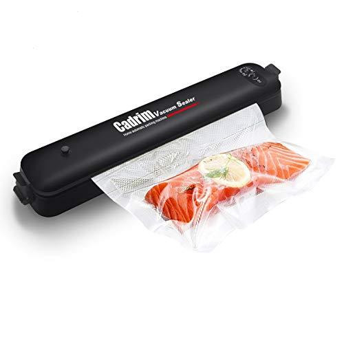 Vakuumiergerät, Vakuumierer Folienschweißgerät für Lebensmittel, Fleisch, Gemüse Bleiben bis zu 8x Länger Frisch, 15 Profi-Folienbeutel (schwarz) (Schwarz)