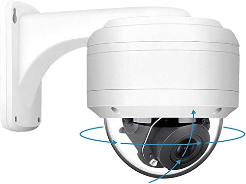 Anpviz 5MP PTZ PoE IP Dome Camera 5X Optical Zoom Security Camera with Audio 2.7-13.5mm Motorized Lens Outdoor Waterproof Onvif Video Surveillance Camera Dome Night Vision with Wall Mount Bracket