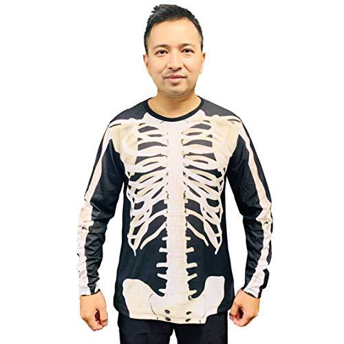Oh My Sweater Halloween Skeleton Long Sleeve Shirt (Large) Black