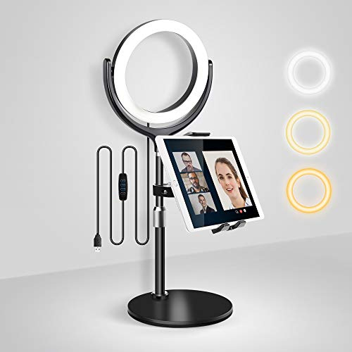 Elitehood iPad Stand with Ring Light for Online Video Conference, 3 Colors & 10 Brightness Computer Ring Light, Adjustable Desktop iPad Holder Stand for iPad Pro 12.9 11 Air Mini and 4-13'' Tablet