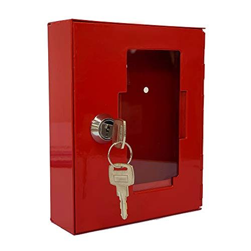 Notschlüsselkasten mit 2 Schlüssel | Notschlüsselbox Schlüsselkasten Stahlblech rot | Schlüsseldepot | Glasscheibe Front