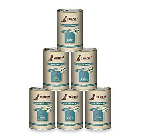 Escapure Hunde Nassfutter Bio Dosen | Ente Bayrisch in Premium Bio Qualität | mit Bio Kartoffeln und Bio Kräutern | frei von Getreide sowie Zusatzstoffen | DE-ÖKO-007 | 6x400g