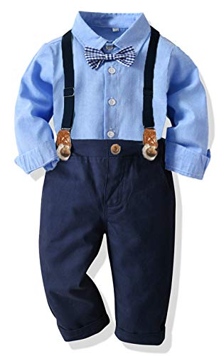 Ropa Bebe Conjunto Niño Traje de Vestir Conjuntos de Otoño e Invierno Camisa de Manga Larga Pantalón + Pajarita Tirantes Ropa Niño Caballero 6 Meses a 6 años (Azul005, 6-12M)