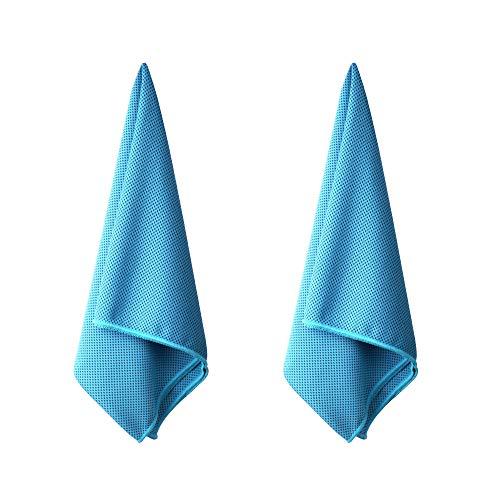 LAMA Kühlendes Handtuch Kühltuch [2 Pack] Microfaser Handtücher als Schal Halstuch Bandana Kopftuch Haarband Armband für Tennis Golf Boxen Fitness Sport Urlaub Haustier Kältekompresse 100x30cm Blau