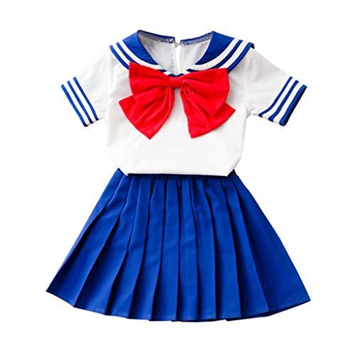 Janly Clearance Sale Conjunto de trajes para niñas de 0 a 7 años, ropa para bebés y niñas, ropa con lazo+falda corta, bonito regalo de Pascua, juego de ropa de bebé para 6 a 7 años (azul)