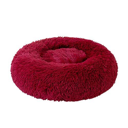 Decdeal Haustierbett für Katzen und Hunde Rundes Plüsch Hundebett Katzenbett in Doughnut-Form Farbe und Größe Optional (Durchmesser 70cm, rot)
