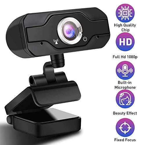 LIUSHI Cámara Web HD 1080P con micrófono, Clip Giratorio Flexible, cámara de computadora USB de Pantalla Ancha para PC Mac portátil computadora de Escritorio Video Llamada conferencias grabación