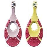 Jordan 6220100 Baby Zahnbürste Step 1 mit Beißring, 0-2 Jahre, extra soft, Stück:2 Stück