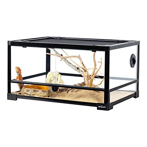 REPTI ZOO Full Glass Reptile Terrarium 20 Gallon, Front Opening Reptile Tank 24' x 18'x 12', Reptile Amphibian Habitat Vivarium Double Opening Doors & Top Screen Ventilation (Knock-Down)
