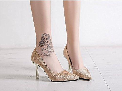 AJUNR Femmes Loisirs été Mode Commuter Les 9cm de Talons Hauts en Daim Bouche Peu Profonde La Pointe Sexy des Chaussures Tous-Match Kaki