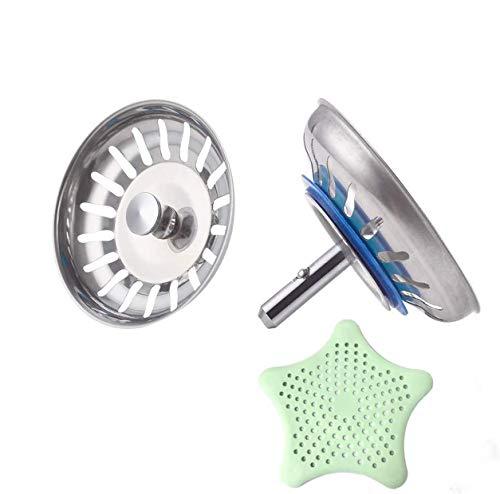 Filtro per Lavello da Cucina, 2 Pezzi Acciaio Inox Filtro Lavello Scarico Cucina, Tappo Cestello per Lavabo Foro Colino, 3,5 inch(Ø 80 mm), con 1 Pezzi Filtro di Silicone