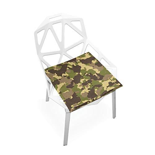 Cojín de espuma viscoelástica para sillas de cocina, suave, lavable, antipolvo, para silla de comedor, 40,6 x 40,6 cm (camuflaje) 2030232
