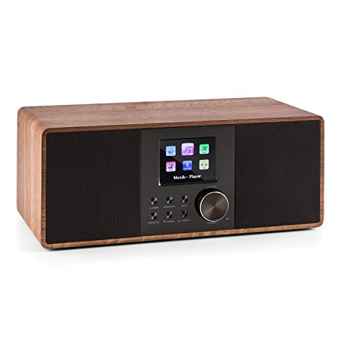 AUNA Connect 120 WN - Radio por Internet, Digital, WLAN, Reproductor en Red, Dab/Dab+/FM con RDS, Bluetooth, AUX, Puerto MP3-USB, Despertador, Visualización Hora, Modo sueño, Marrón