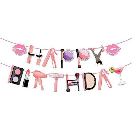 Spa Party Decorations,Spa Makeup Happy Birthday Banner for Girls Spa Party Birthday Party