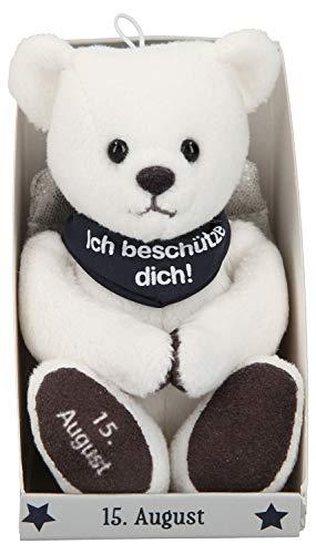 Depesche 8139.228 - Anioł stróż pluszowy miś ok. 9 cm, z datą 15 sierpnia, prezent na urodziny, rocznicę lub ślub