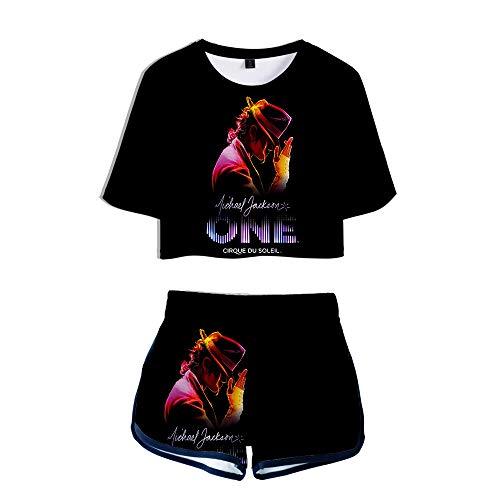 KJYAYA Damen 3D T-Shirt Shorts Set Michael Jackson Mädchen Kurzarm Top Lässige Shorts Weste Fan Geschenk
