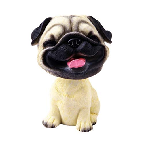 ZBM--ZBM Nodding Dogs Car Ornaments,Pug Bobblehead Mini Puppy Dog Figurine Car Dashboard Decoration Nodding Shaking Head Toys for Kids Room