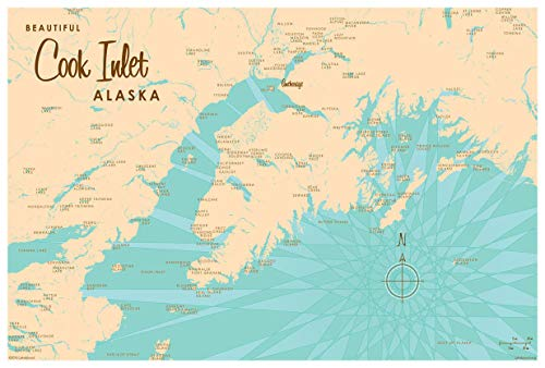 Cook Inlet Alaska Map Giclee Art Print Poster by Lakebound 12' x 18'